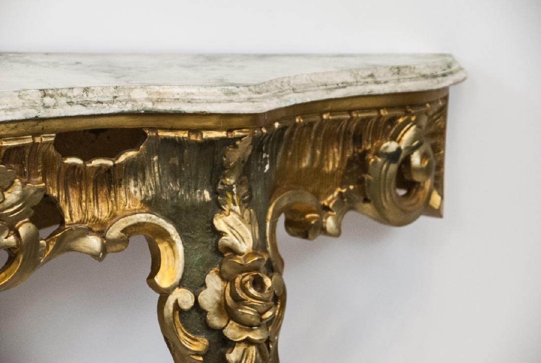 French Rococo Gilt + Faux Marble Top Wall Console - 6