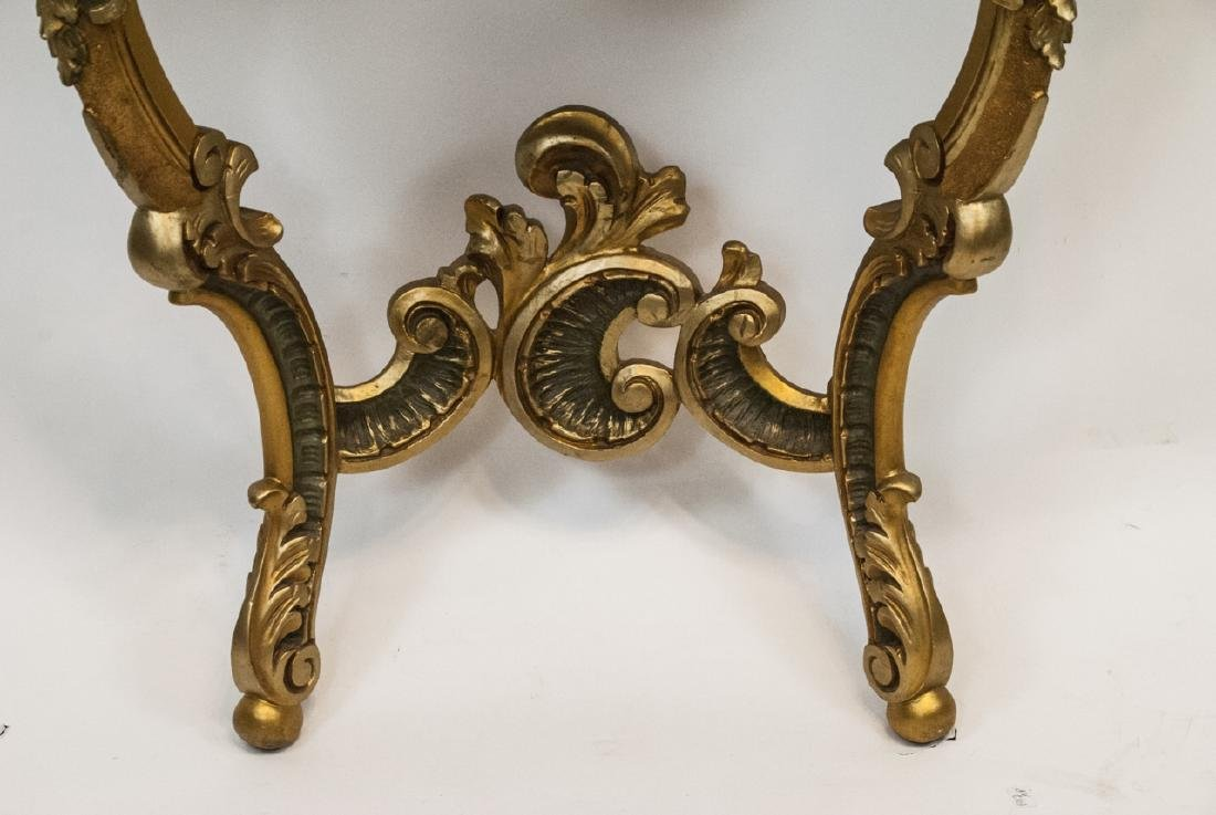 French Rococo Gilt + Faux Marble Top Wall Console - 7