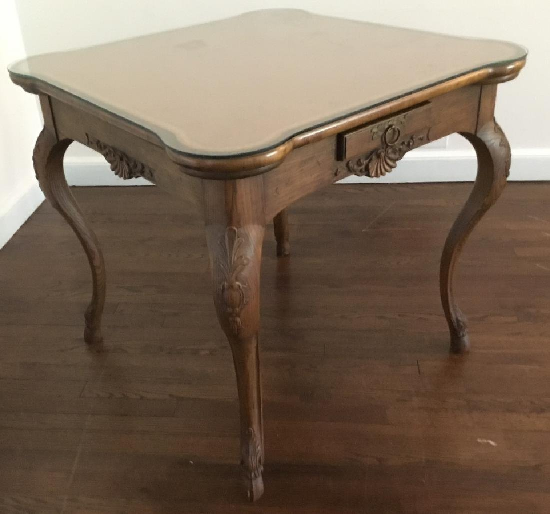 Louis XV Style Card Table W Glass Top