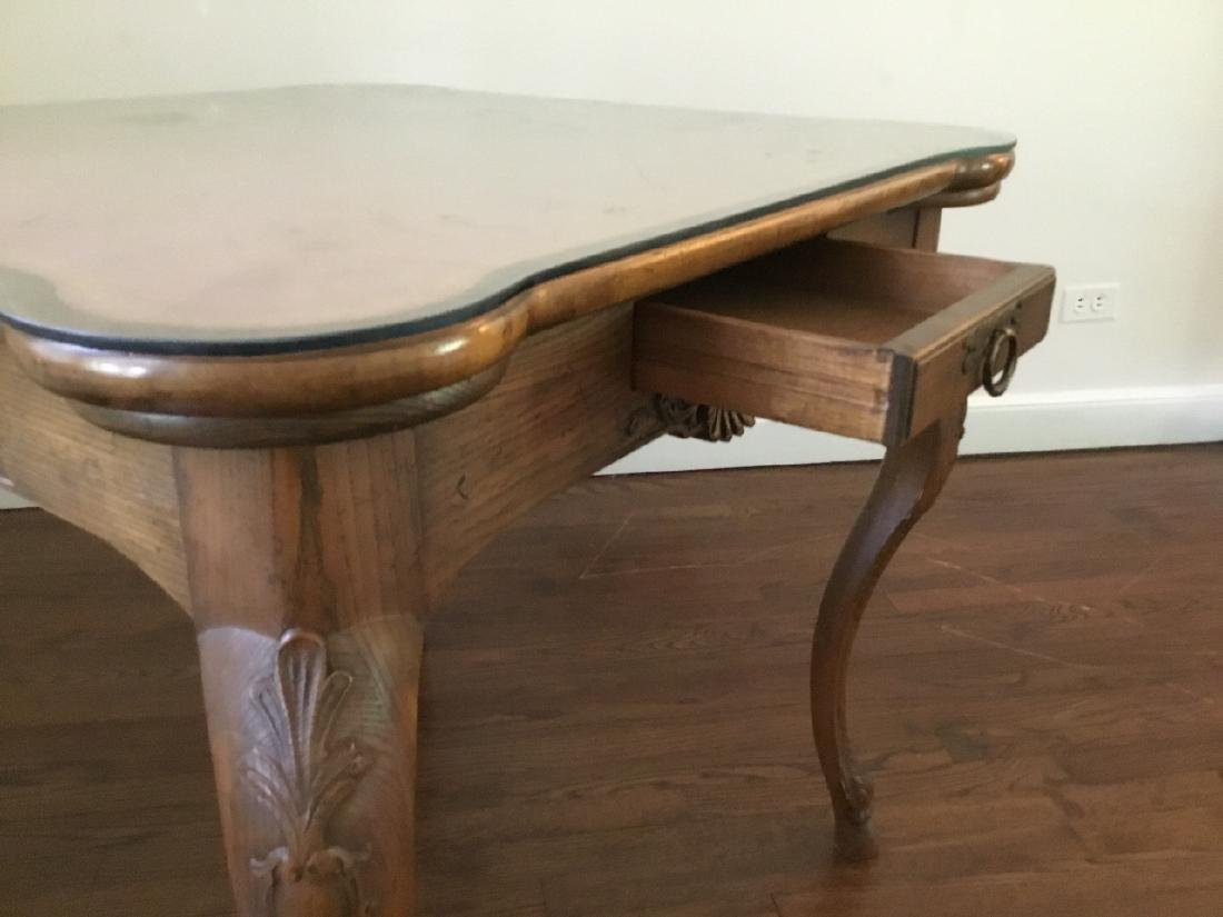 Louis XV Style Card Table W Glass Top - 3
