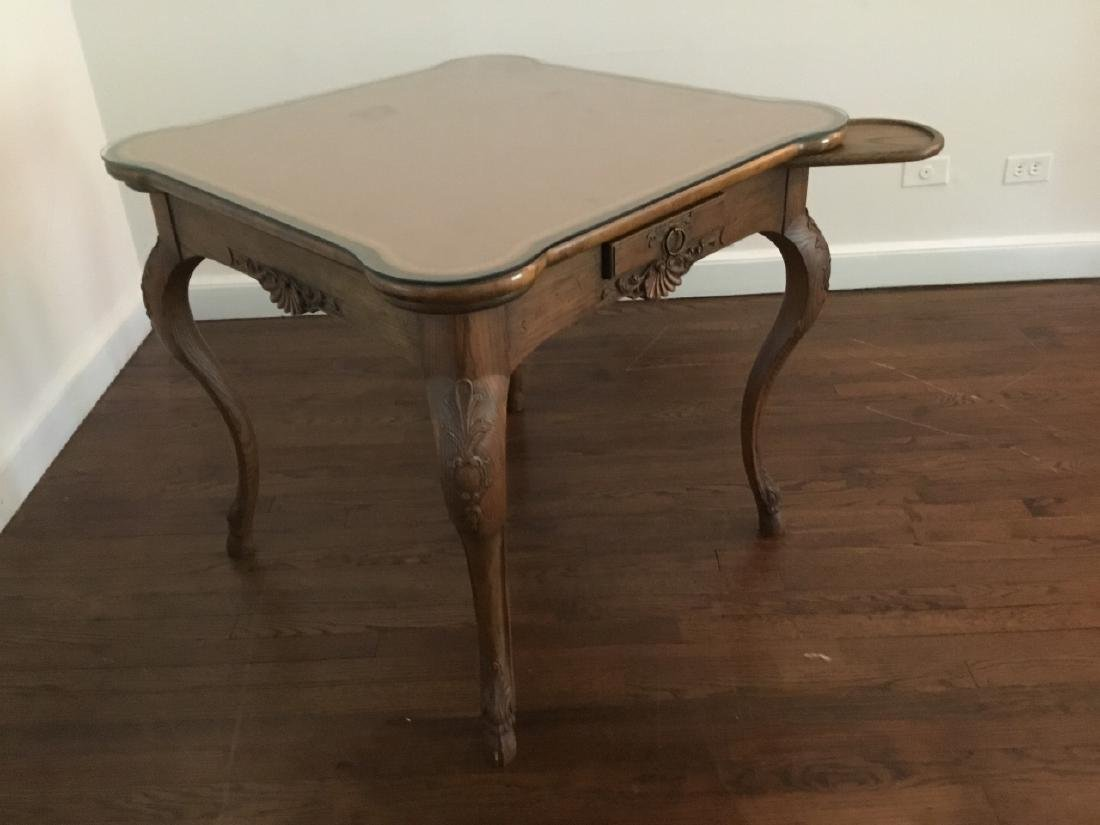 Louis XV Style Card Table W Glass Top - 5