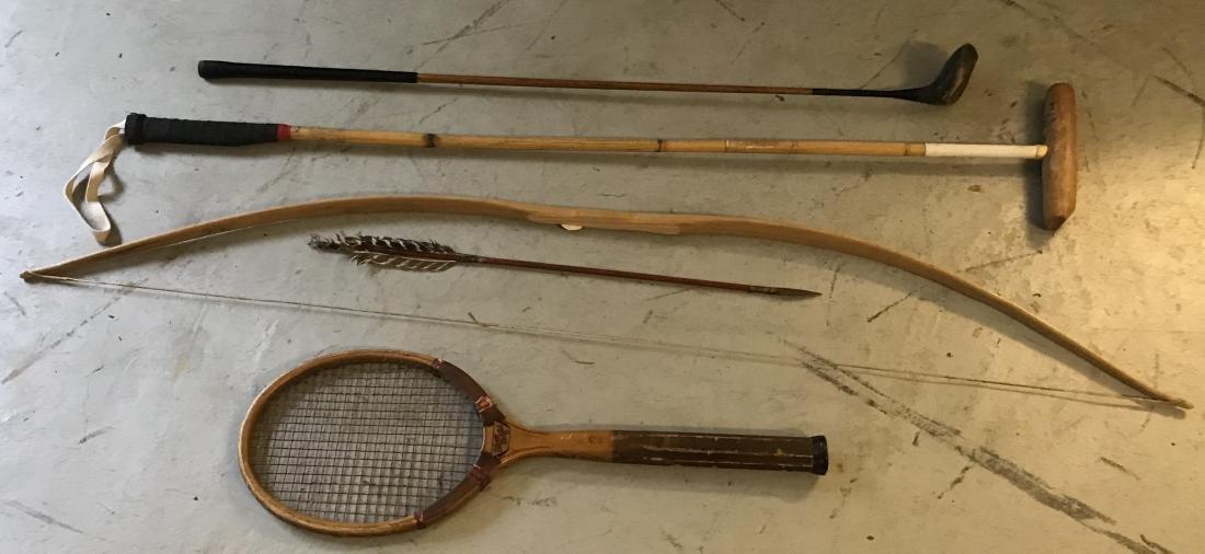 Tennis Racket, Polo Mallet, Bow & Arrow, Golf Club