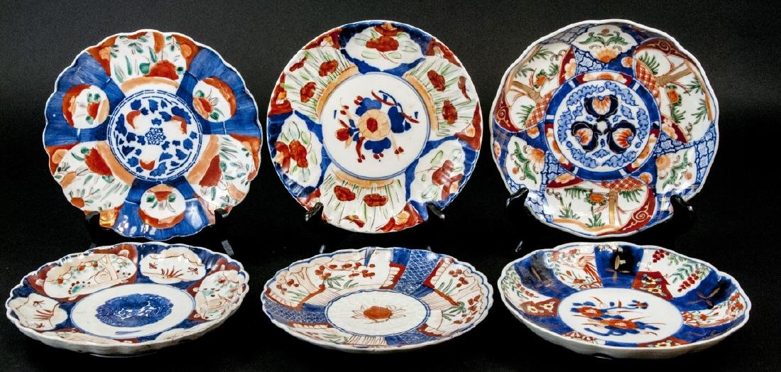 6 19th C Japanese Imari Porcelain Plates / Dishes