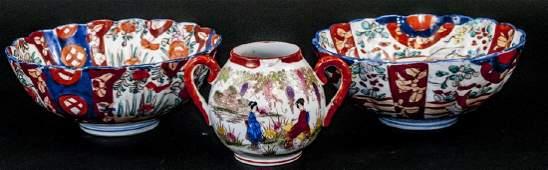 2 19th C Japanese Imari Porcelain Bowls & 1 Vessel