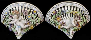 Pair Dresden Porcelain French Rococo Wall Mounts