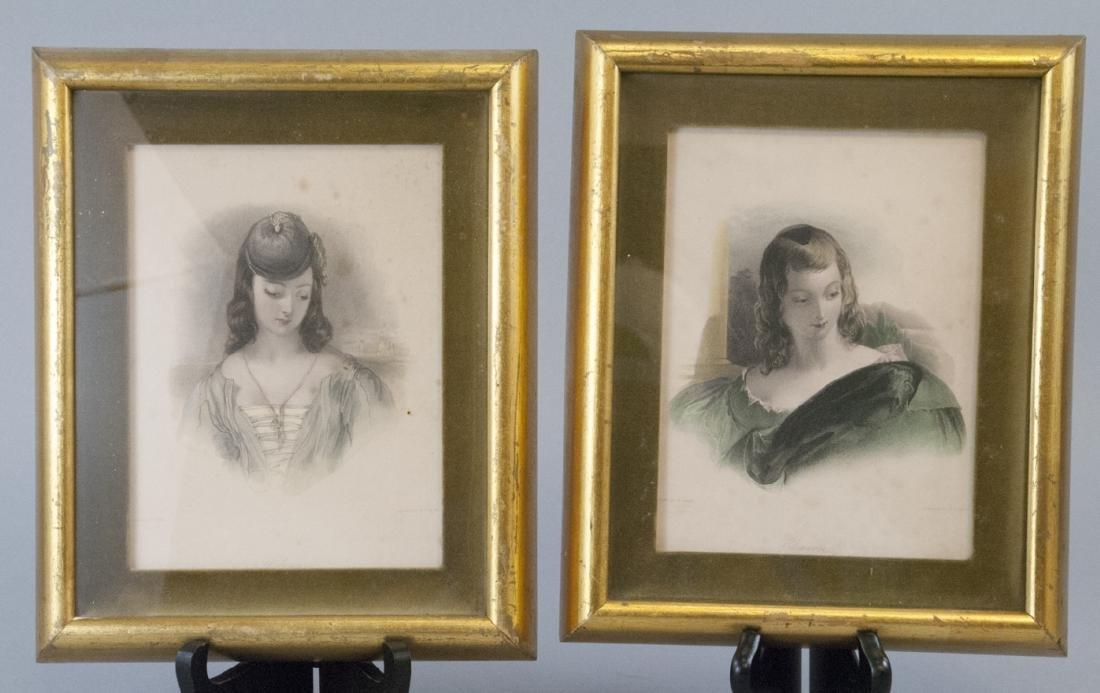 Two Framed 19th C Female Portrait Engravings