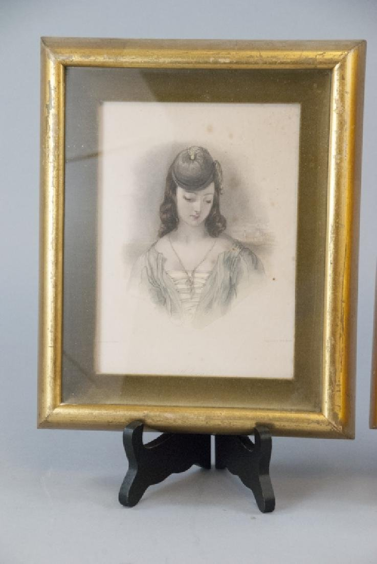 Two Framed 19th C Female Portrait Engravings - 2