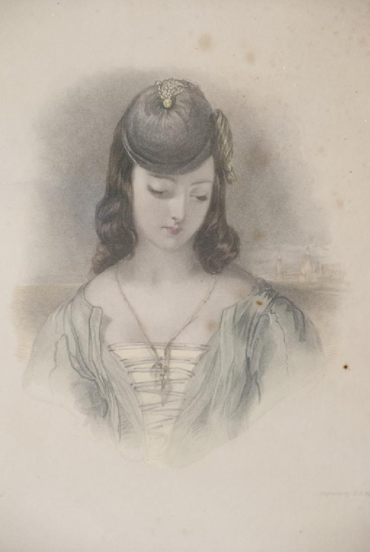 Two Framed 19th C Female Portrait Engravings - 4