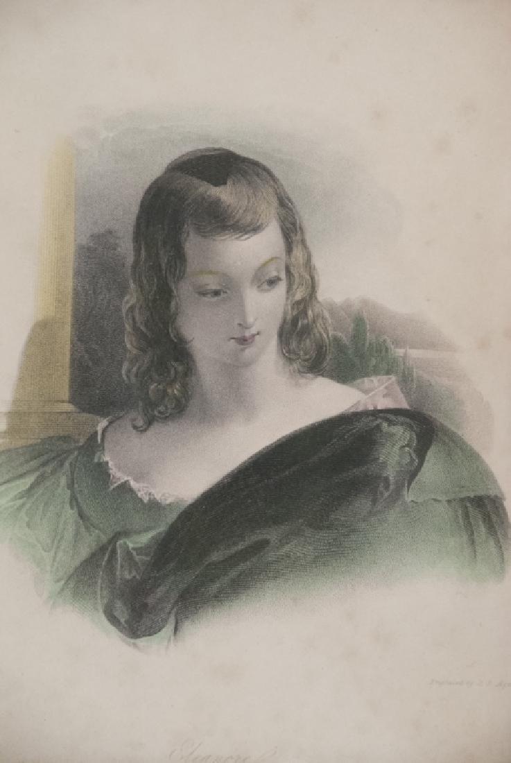 Two Framed 19th C Female Portrait Engravings - 5