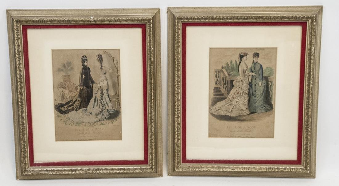 Pair Antique French Fashion Framed Prints