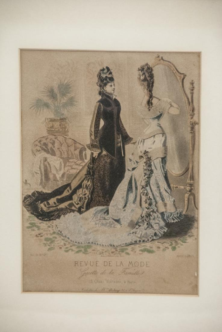 Pair Antique French Fashion Framed Prints - 3