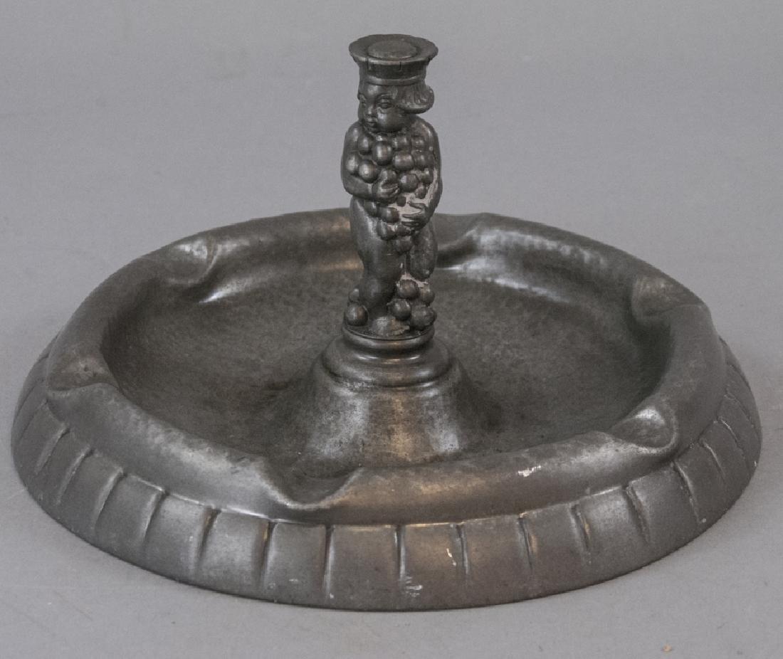 Vintage Hammered Tin Gero Ashtray W Putti
