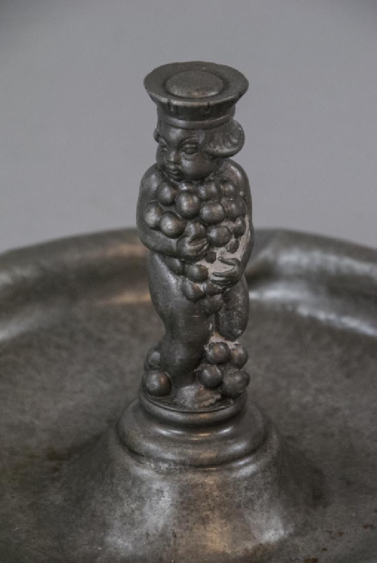 Vintage Hammered Tin Gero Ashtray W Putti - 2