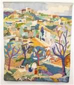 Antonio Sereix Quilted Village Scene Tapestry Signed