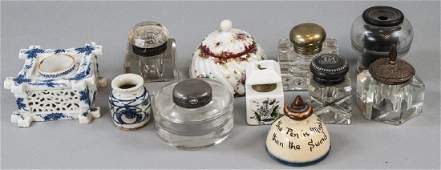 Mixed Lot of Antique  Vintage Inkwells