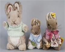 3 German Steiff Stuffed Animal Bunnies / Rabbits