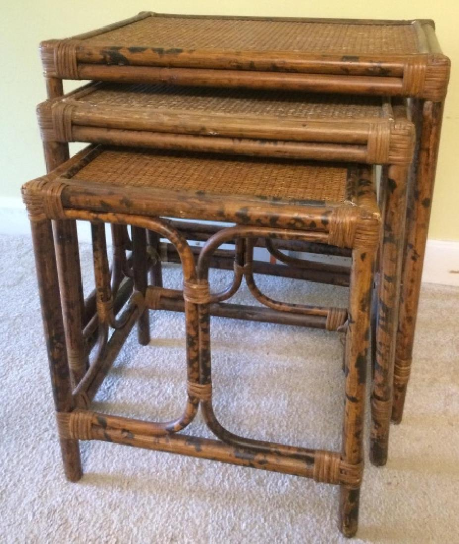 Mid Century Bamboo U0026 Rattan Woven Nesting Tables