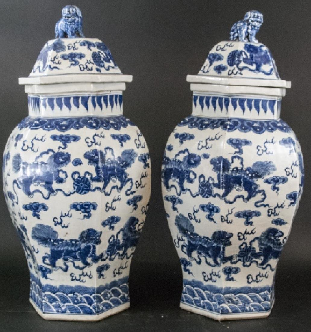 Pair Large Scale Chinese Temple Jars w Foo Dogs