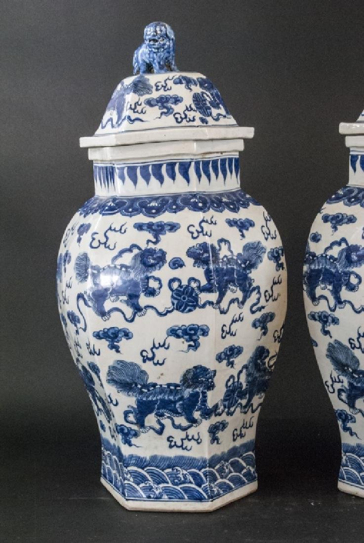 Pair Large Scale Chinese Temple Jars w Foo Dogs - 5