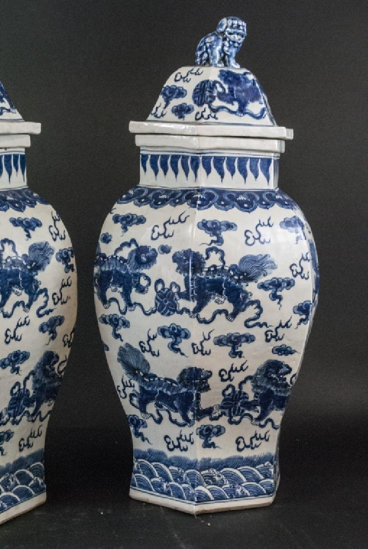 Pair Large Scale Chinese Temple Jars w Foo Dogs - 6