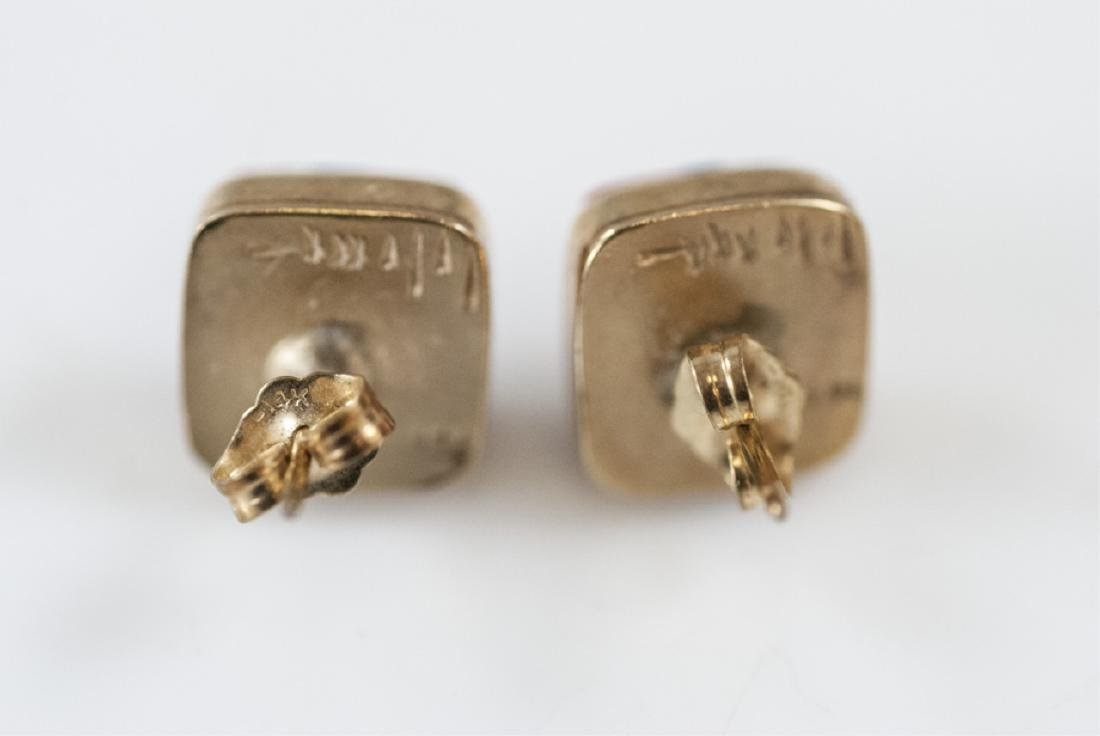 Charles Loloma Native American 14kt Gold Earrings - 4