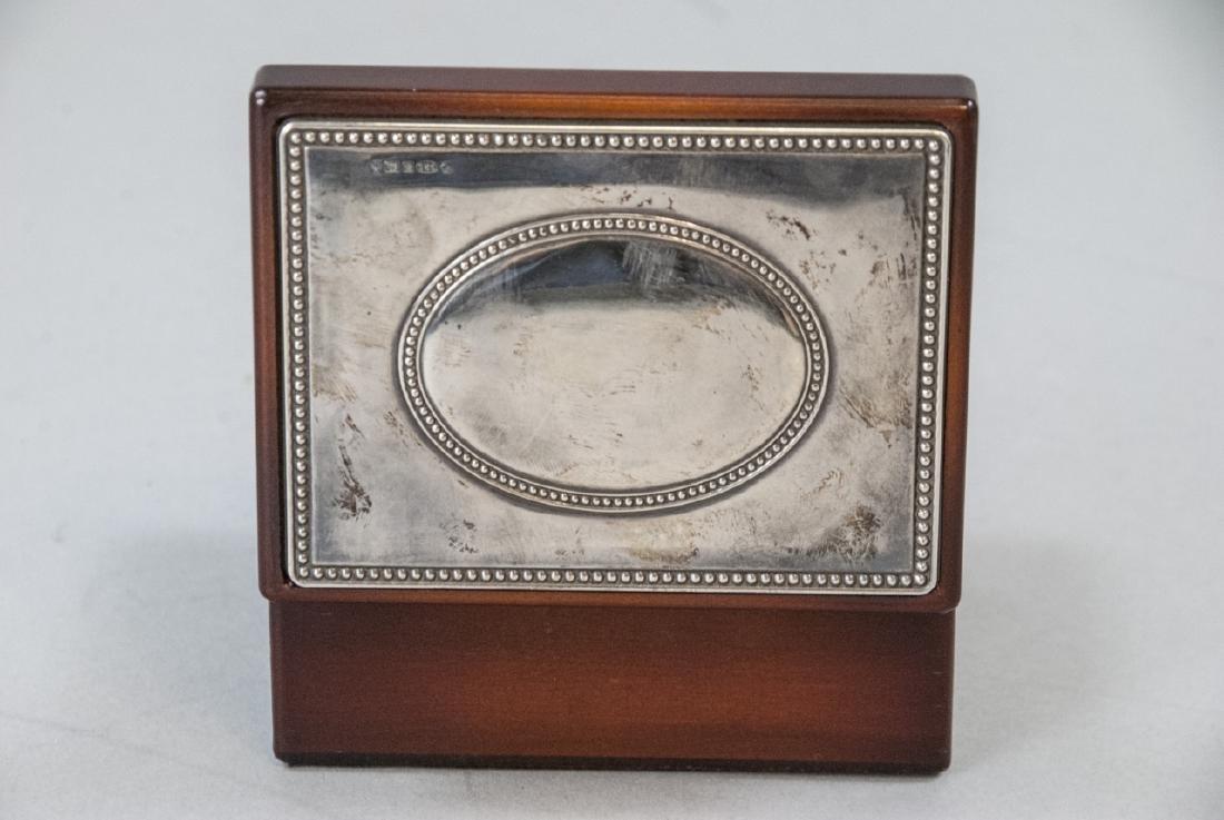 Sterling Silver & Mahogany Jewelry / Trinket Box - 4