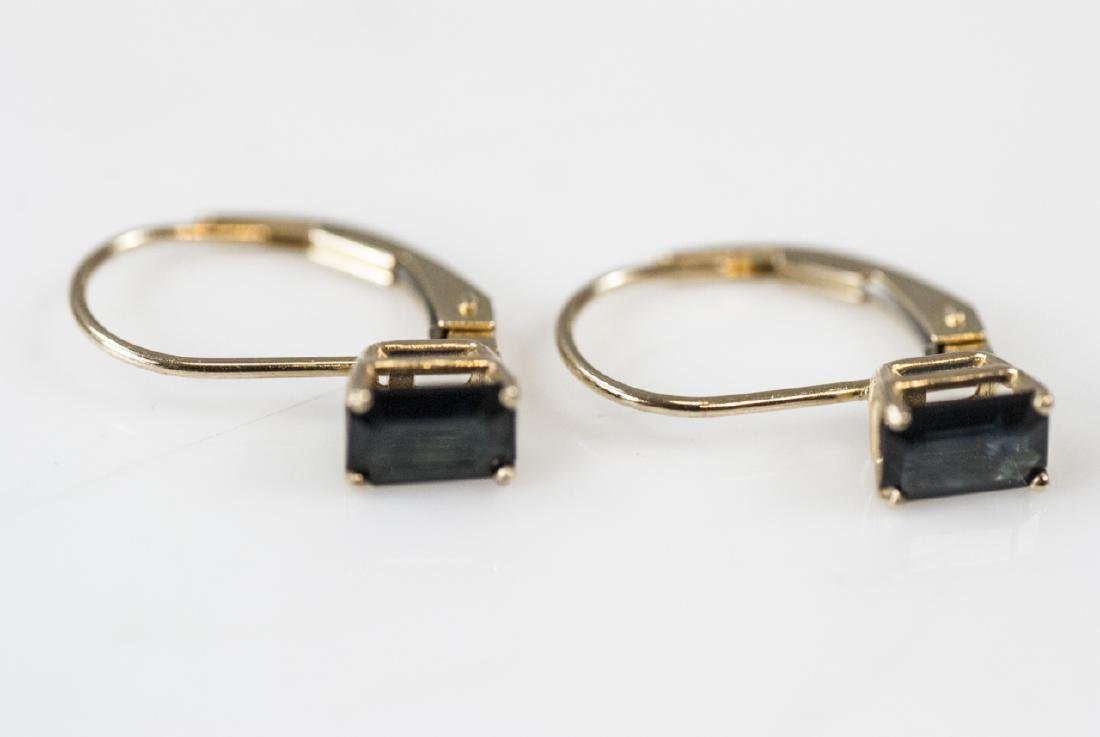 Vintage 14kt Yellow Gold & Sapphire Earrings - 2