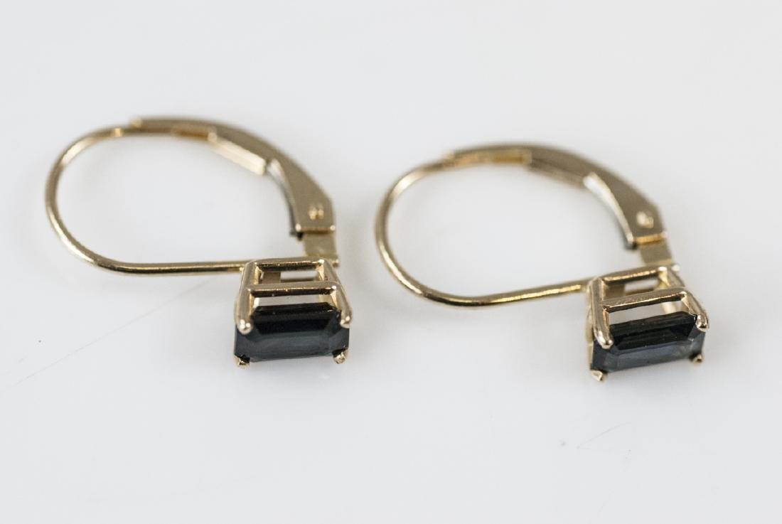 Vintage 14kt Yellow Gold & Sapphire Earrings - 5