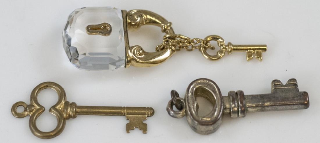 Faceted Crystal Lock & Skeleton Key Pendants