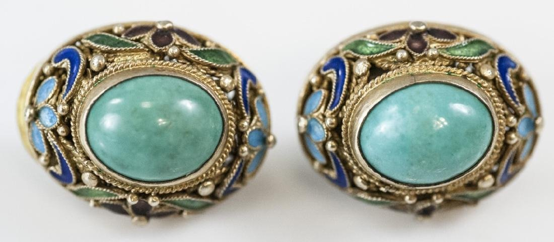 Estate Chinese Gilt Silver & Enamel Earring Studs