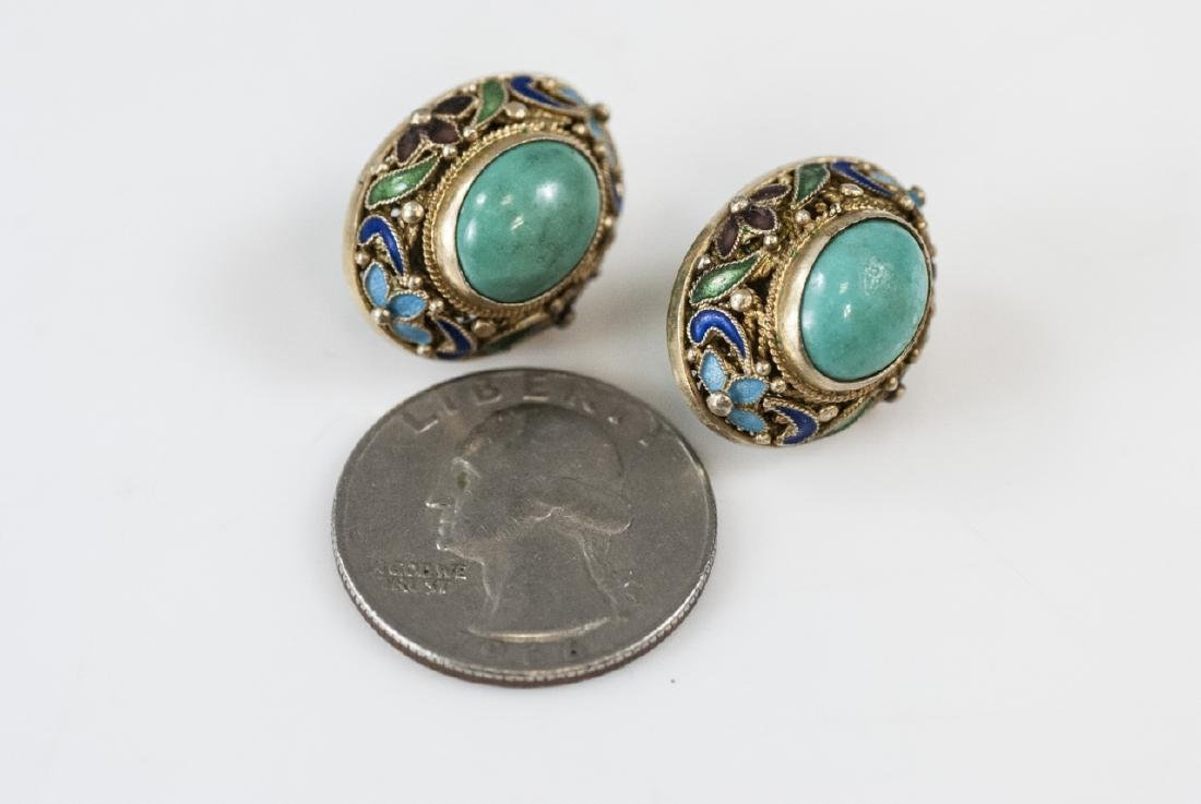Estate Chinese Gilt Silver & Enamel Earring Studs - 6