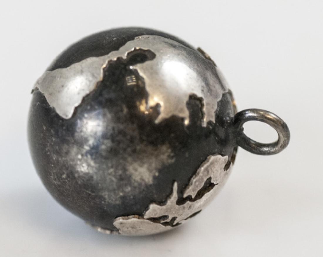 Estate Silver Globe Pendant Charm w Bell Inside