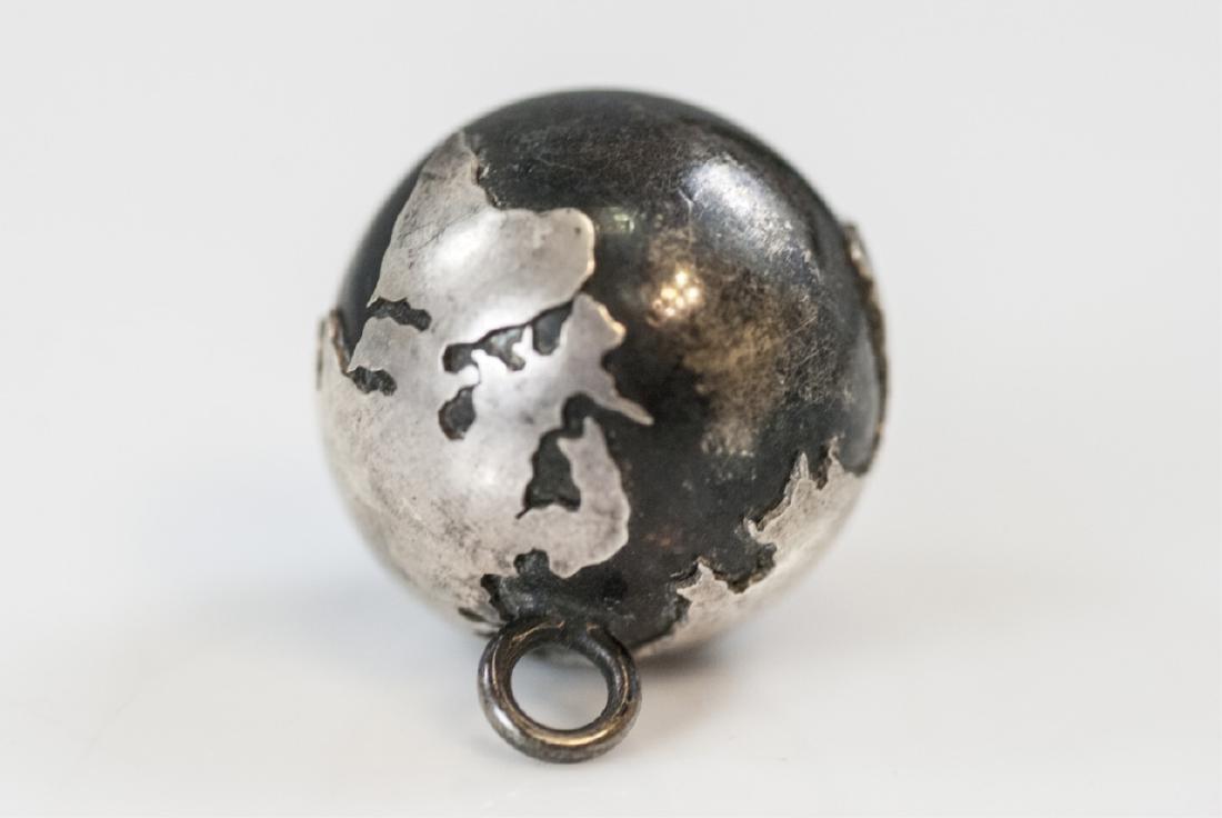 Estate Silver Globe Pendant Charm w Bell Inside - 2