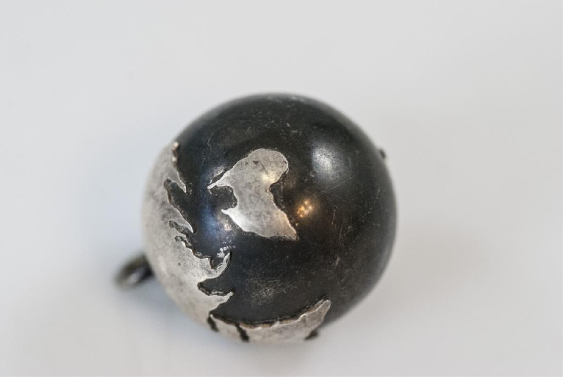 Estate Silver Globe Pendant Charm w Bell Inside - 4