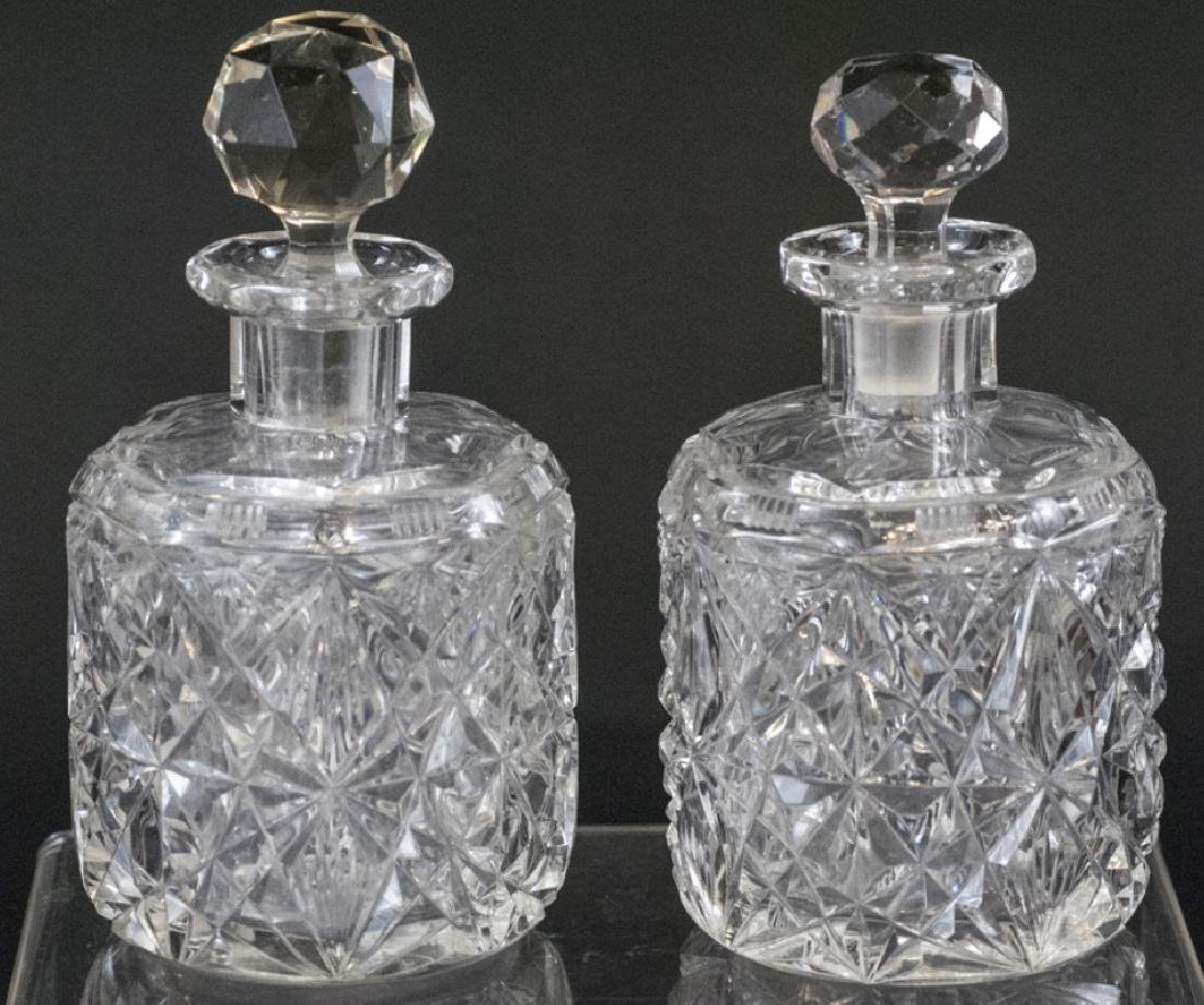 Pair Antique Brilliant Cut Crystal Perfume Bottles