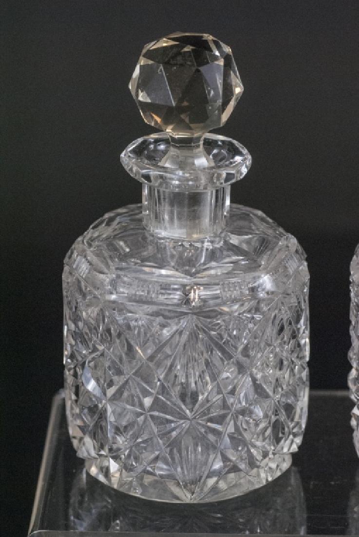Pair Antique Brilliant Cut Crystal Perfume Bottles - 2