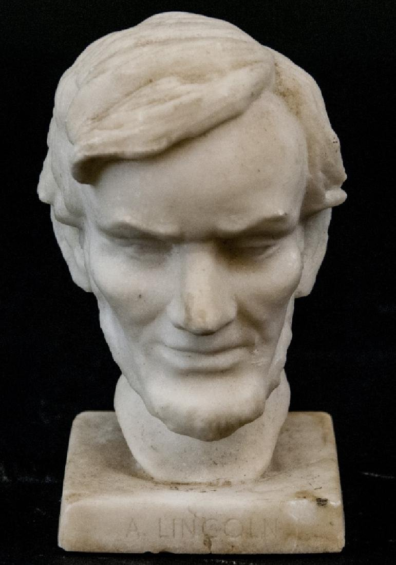 Antique Hand Carved Marble Bust of Abe Lincoln