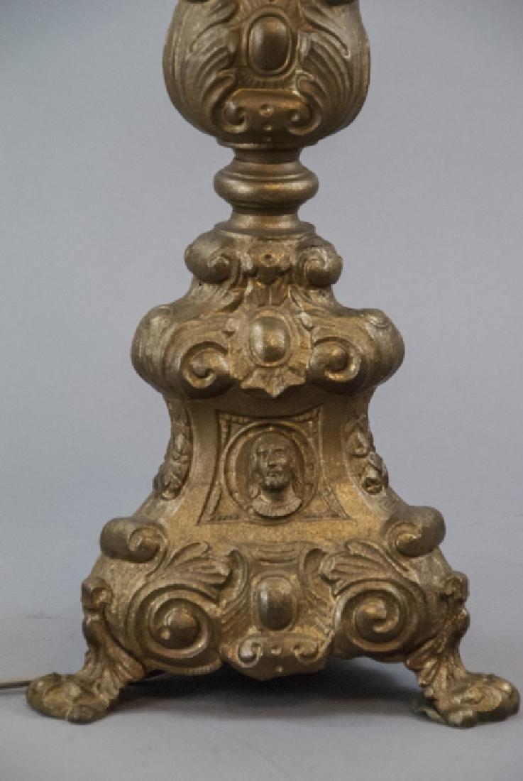 Antique 19th C Gilt Ormolu Altar Candlestick Lamp - 4