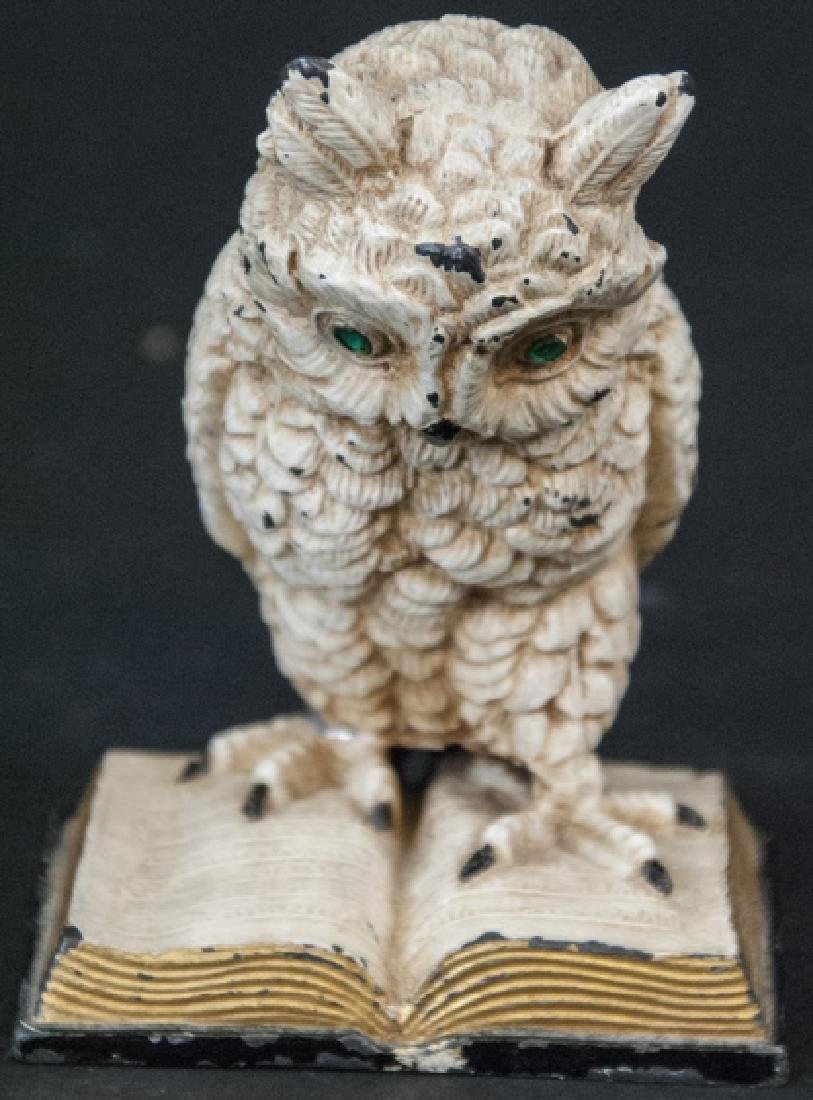 Hand Painted Statue of Owl w Glass Eyes on Book