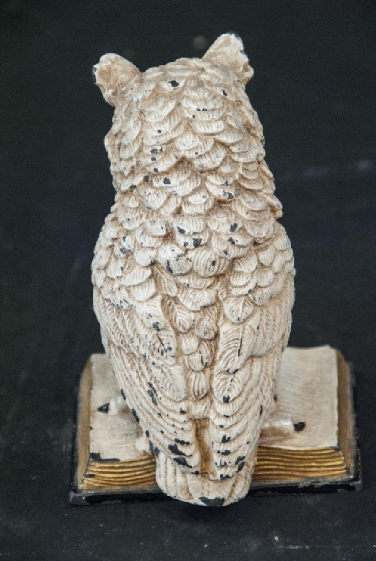 Hand Painted Statue of Owl w Glass Eyes on Book - 2