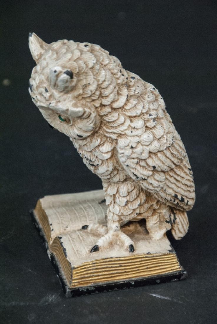 Hand Painted Statue of Owl w Glass Eyes on Book - 3