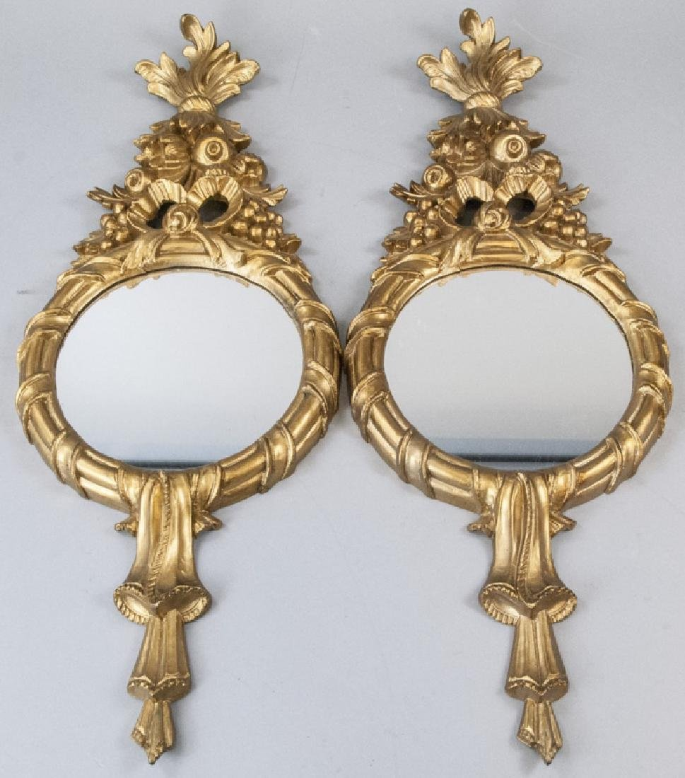 Pair of Gilt French Rococo Style Wall Mirrors