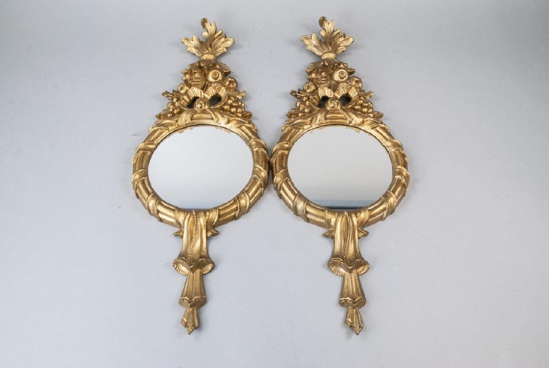 Pair of Gilt French Rococo Style Wall Mirrors - 2