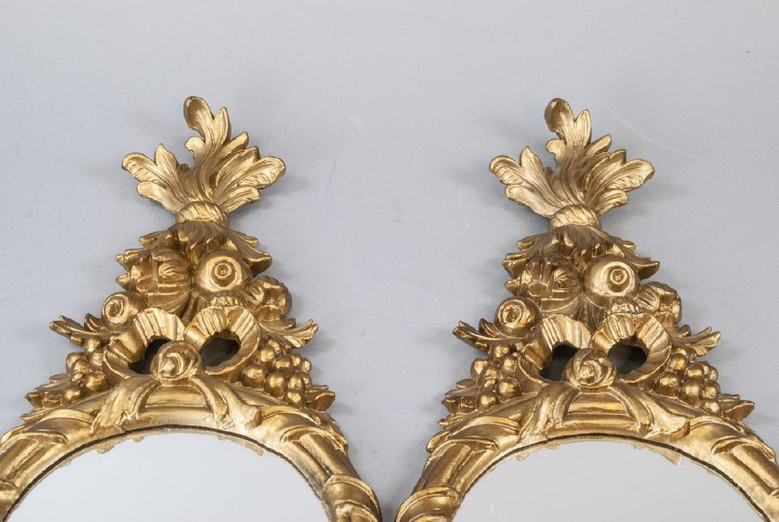 Pair of Gilt French Rococo Style Wall Mirrors - 3