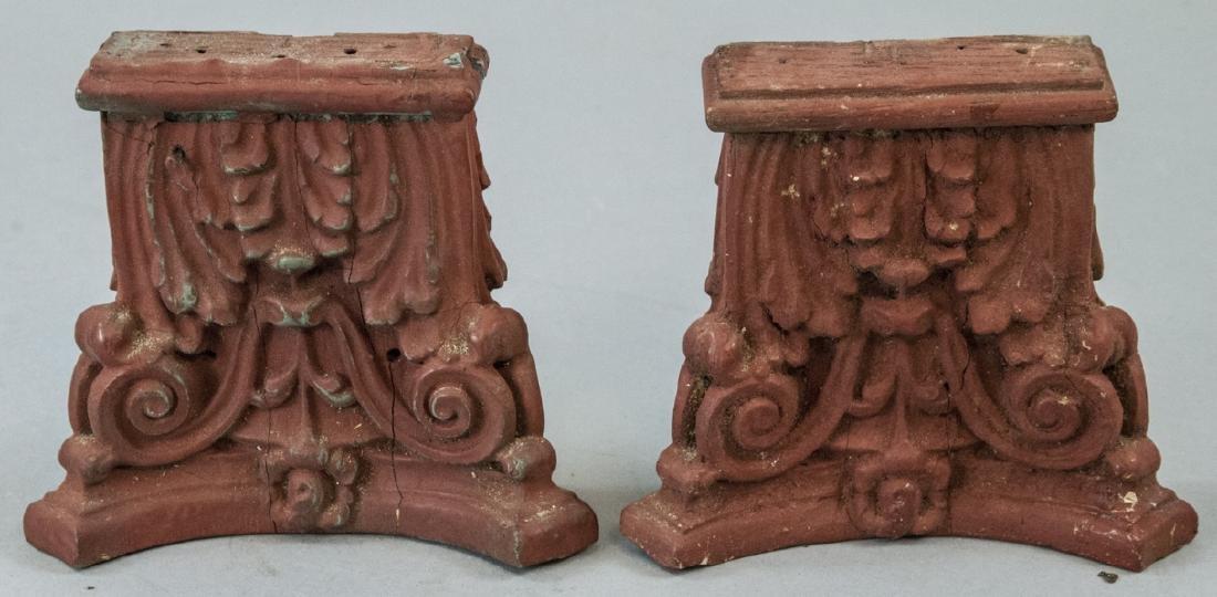 Pair Antique 19th C Architectural Salvage Capitals