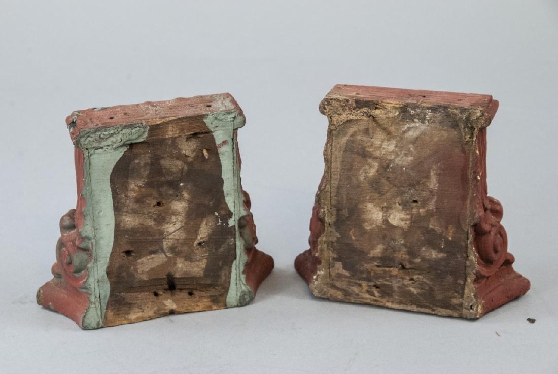 Pair Antique 19th C Architectural Salvage Capitals - 4