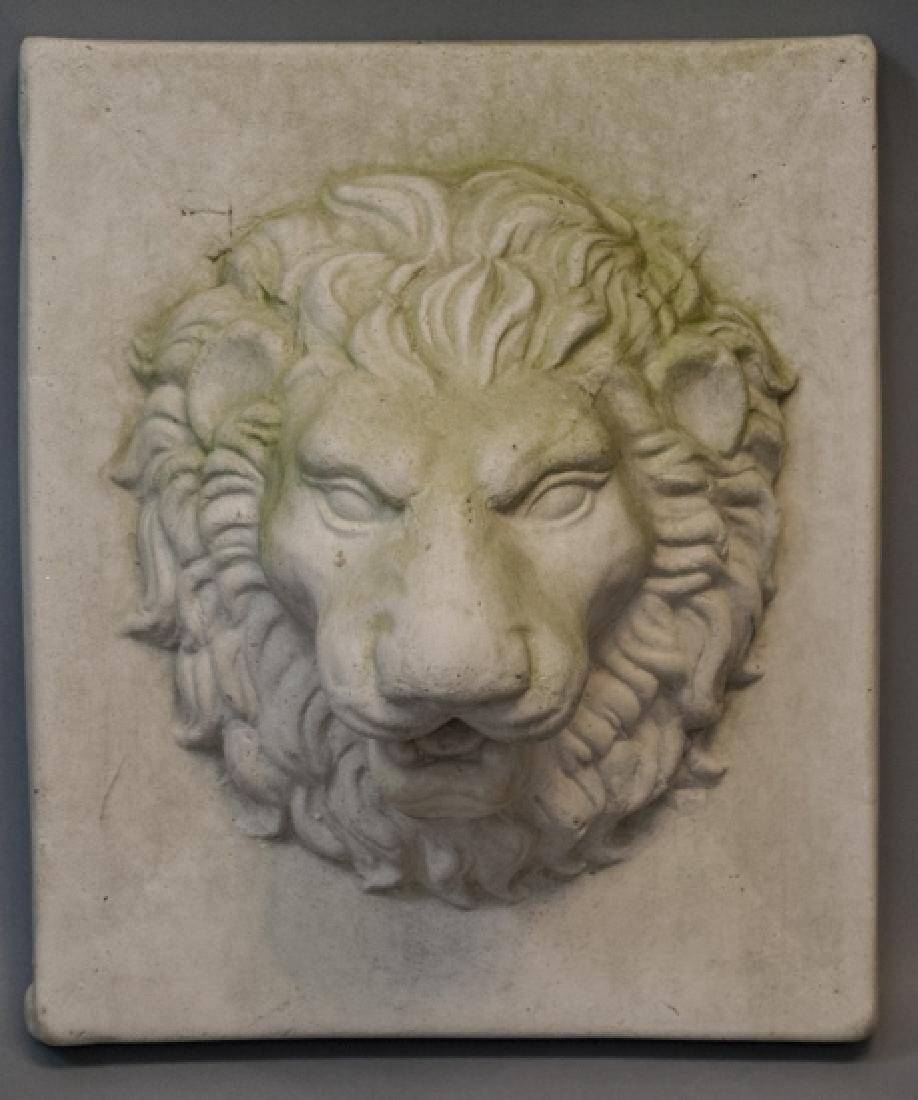 Neo Classical Style Cast Stone Lion Head Plaque