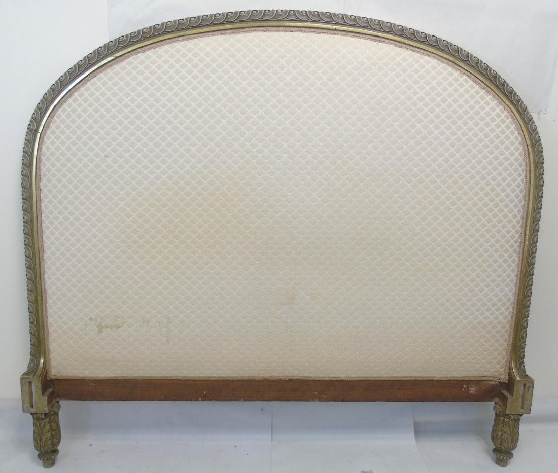 Vintage French Style Carved Upholstered Headboard