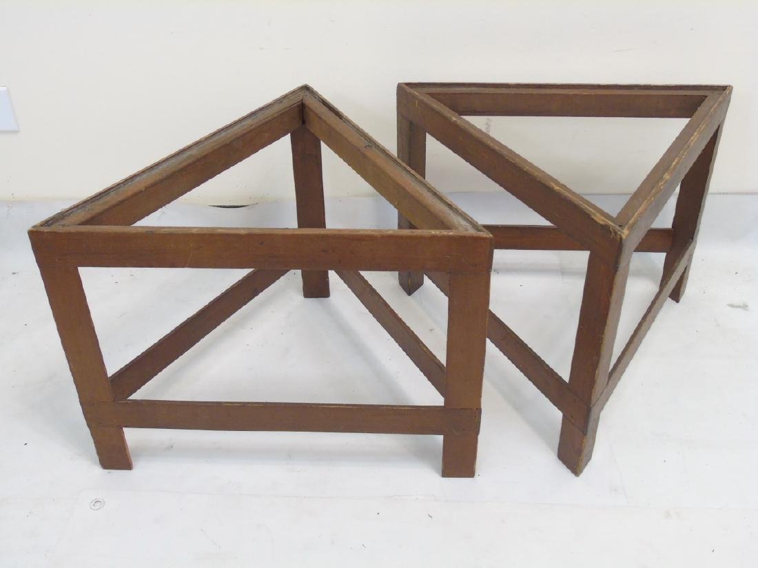 Set of 6 Triangular Wooden Table Frames MCM Style - 2