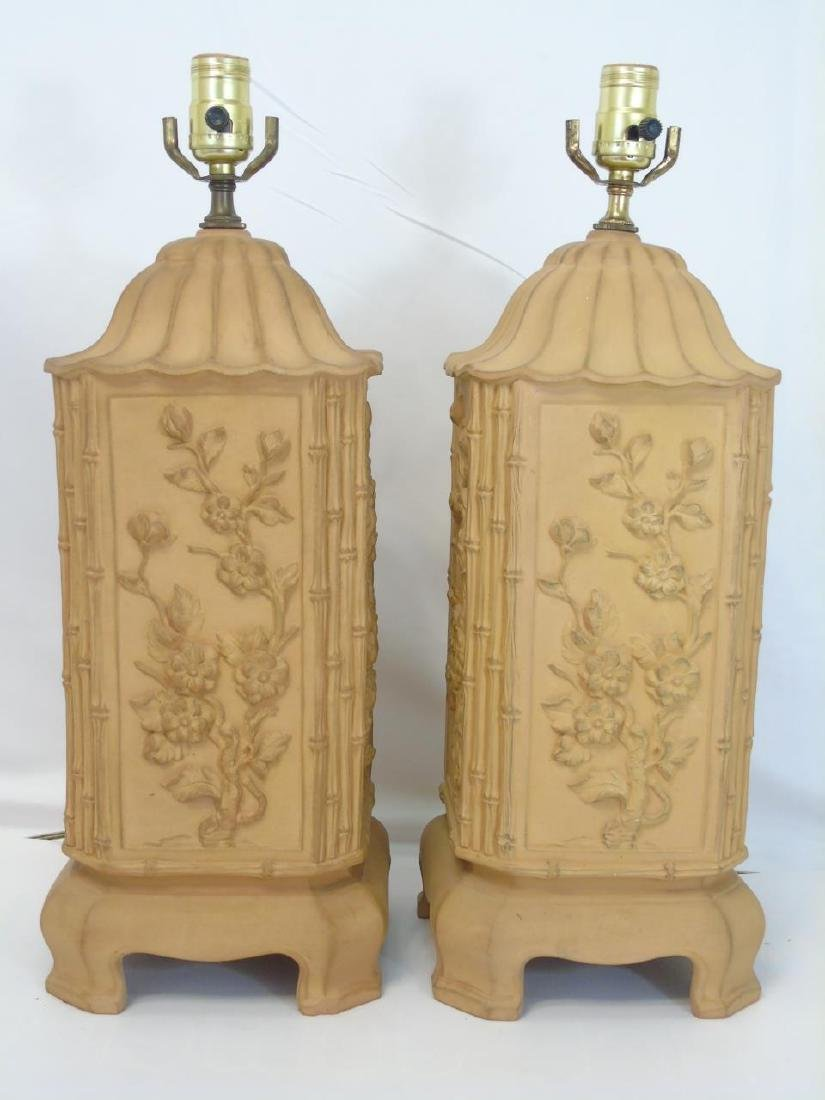 Pair Chinese Motif Cast Terracotta Pottery Lamps